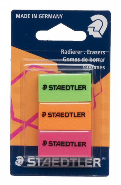 Staedtler Набор ластиков 3 шт526FBK3Набор цветных ластиков Staedtler состоит из трех ластиков неоновых цветов: салатовый, оранжевый и розовый. Высочайшее качество для первоклассного стирания. Минимальное количество крошек. Без фталата и латекса. Долгий срок службы.