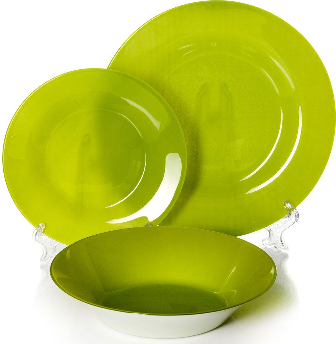 Набор тарелок Pasabahce Грин Виллаж, цвет: зеленый, 18 шт95401M/GRНабор Pasabahce Грин Виллаж состоит из 18 тарелок. Они выполнены из качественного стекла зеленого цвета. Набор отлично подойдет в качестве подарка. Изящные тарелки прекрасно оформят праздничный стол и порадуют вас и ваших гостей изысканным дизайном и формой.Диаметр тарелок: 19,5 см - 6 шт; 22 см - 6 шт;26 см - 6 шт.