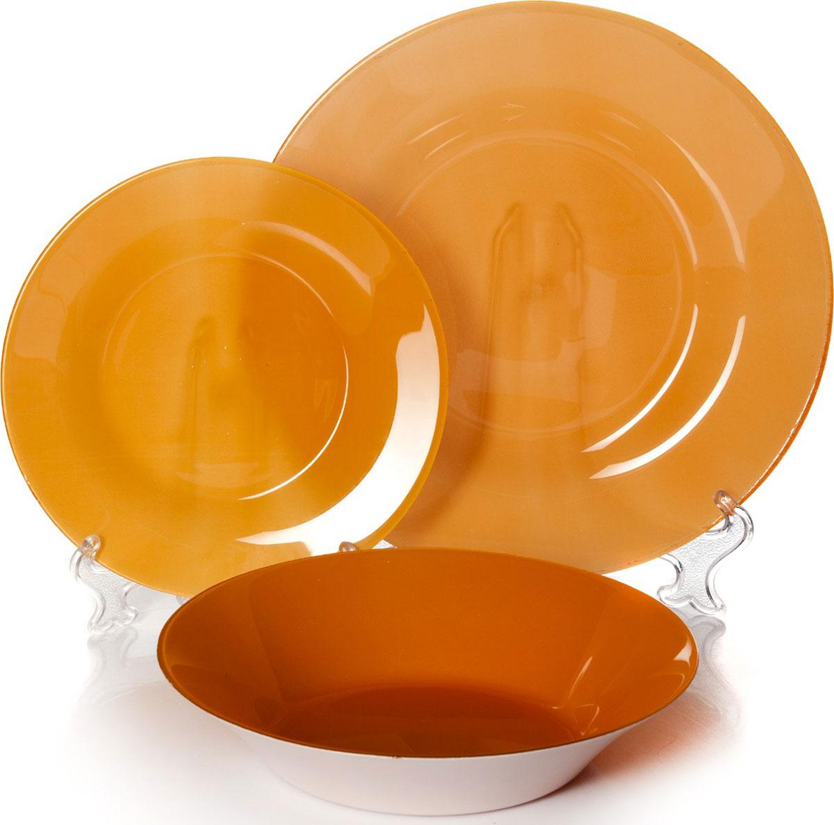 Набор тарелок Pasabahce Оранж Виллаж, цвет: оранжевый, 18 шт029862Набор Pasabahce Оранж Виллаж состоит из 18 тарелок. Они выполнены из качественногостекла оранжевого цвета. Набор отлично подойдет в качестве подарка.Изящные тарелки прекрасно оформят праздничный стол и порадуют вас и ваших гостей изысканным дизайном и формой. Диаметр тарелок:19,5 см - 6 шт;22 см - 6 шт; 26 см - 6 шт.