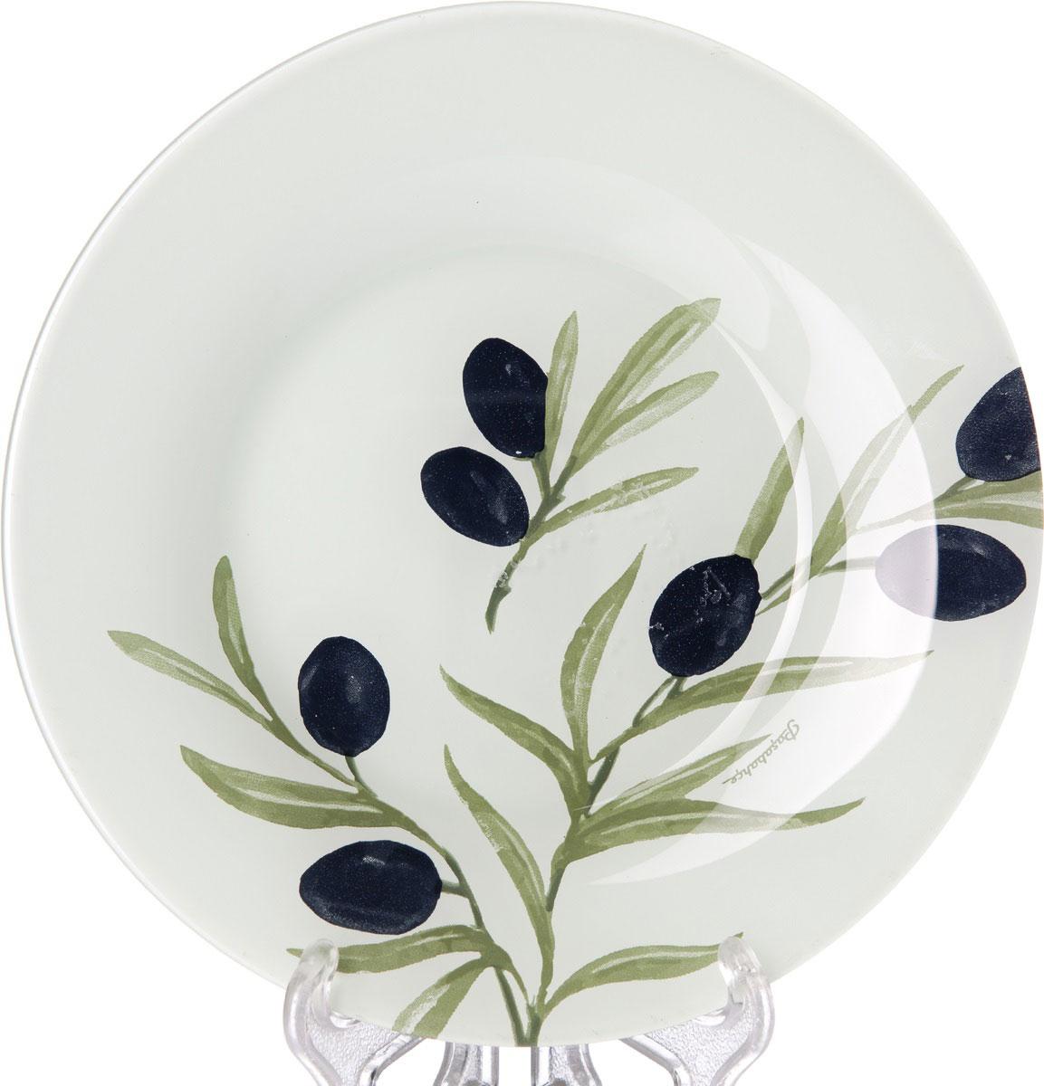 Тарелка Pasabahce Олива, диаметр 19,5 см10327SLBD35Тарелка Pasabahce Олива выполнена из качественногостекла и украшена рисунком. Тарелка прекрасно подойдет в качестве сервировочного блюда для фруктов, десертов, закусок, торта и другого.Изящная тарелка прекрасно оформит праздничный стол и порадует вас и ваших гостей изысканным дизайном и формой. Диаметр тарелки: 19,5 см.