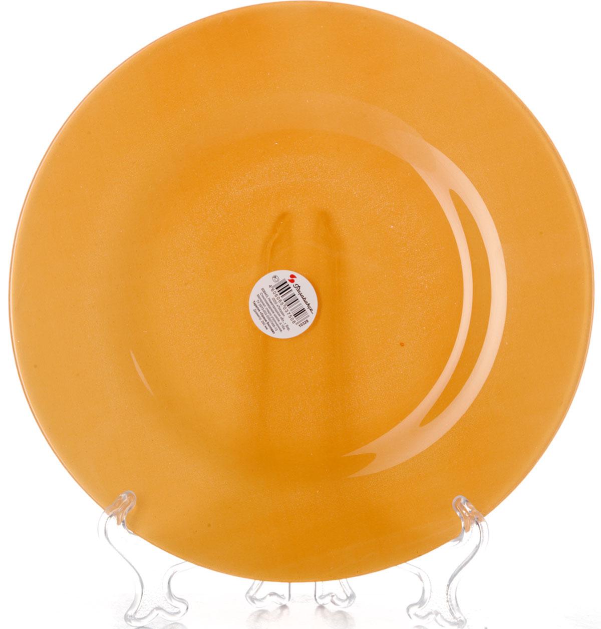 Тарелка плоская Pasabahce Оранж Виллаж, цвет: оранжевый, диаметр 26 см10328SLBD15Плоская тарелка Pasabahce Оранж Виллаж выполнена из качественногостекла оранжевого цвета. Она прекрасно подойдет в качестве сервировочного блюда для фруктов, десертов, закусок и другого.Изящная тарелка прекрасно оформит праздничный стол и порадует вас и ваших гостей изысканным дизайном и формой. Диаметр тарелки: 26 см.Высота: 2 см.
