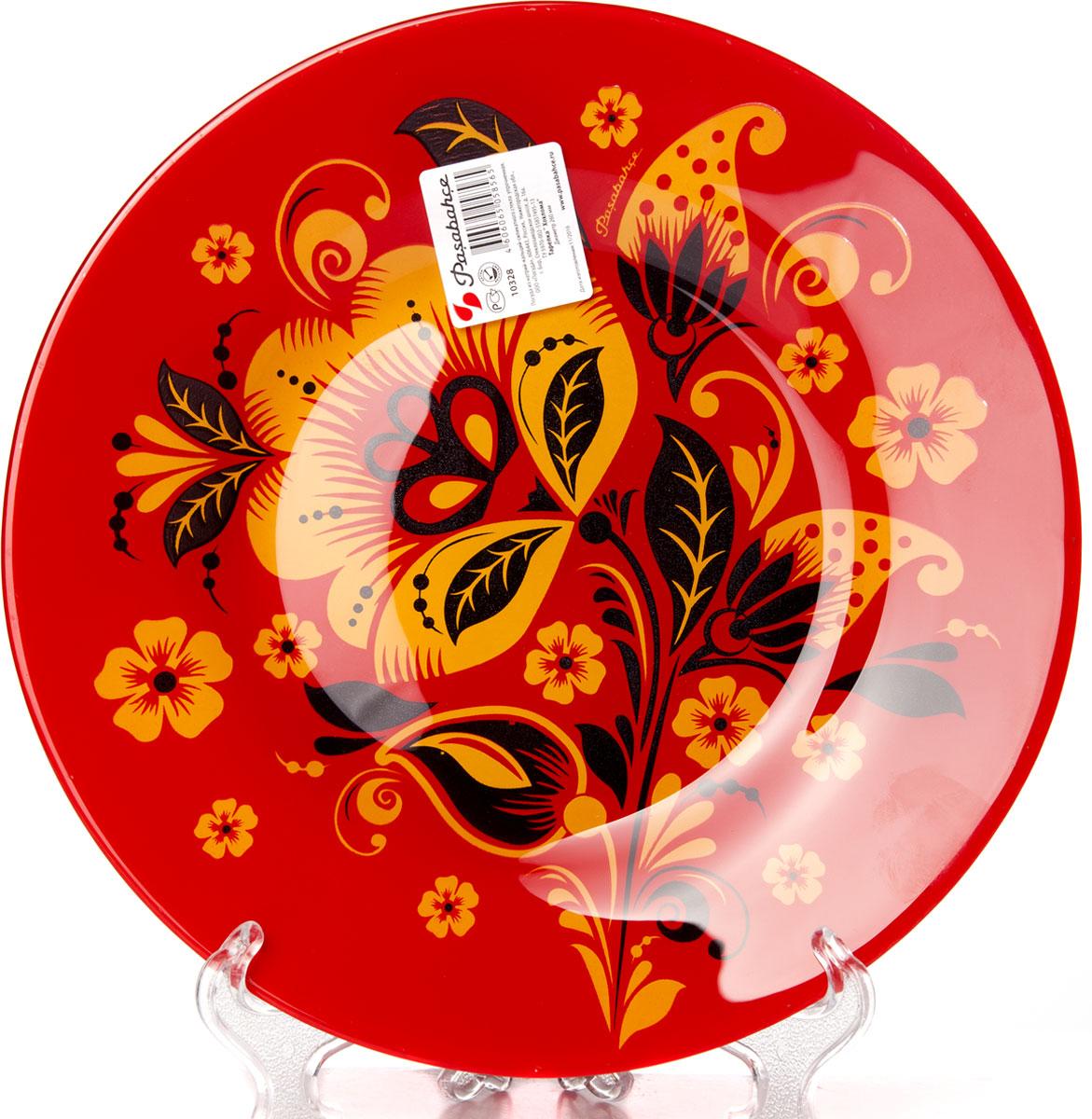 Тарелка Pasabahce Хохлома, диаметр 26 см10328SLBD34Тарелка Pasabahce Хохлома выполнена из качественного стекла и украшена рисунком хохлома. Тарелка прекрасно подойдет в качестве сервировочного блюда для фруктов, десертов, закусок, торта и другого. Изящная тарелка прекрасно оформит праздничный стол и порадует вас и ваших гостей изысканным дизайном и формой.Диаметр тарелки: 26 см.