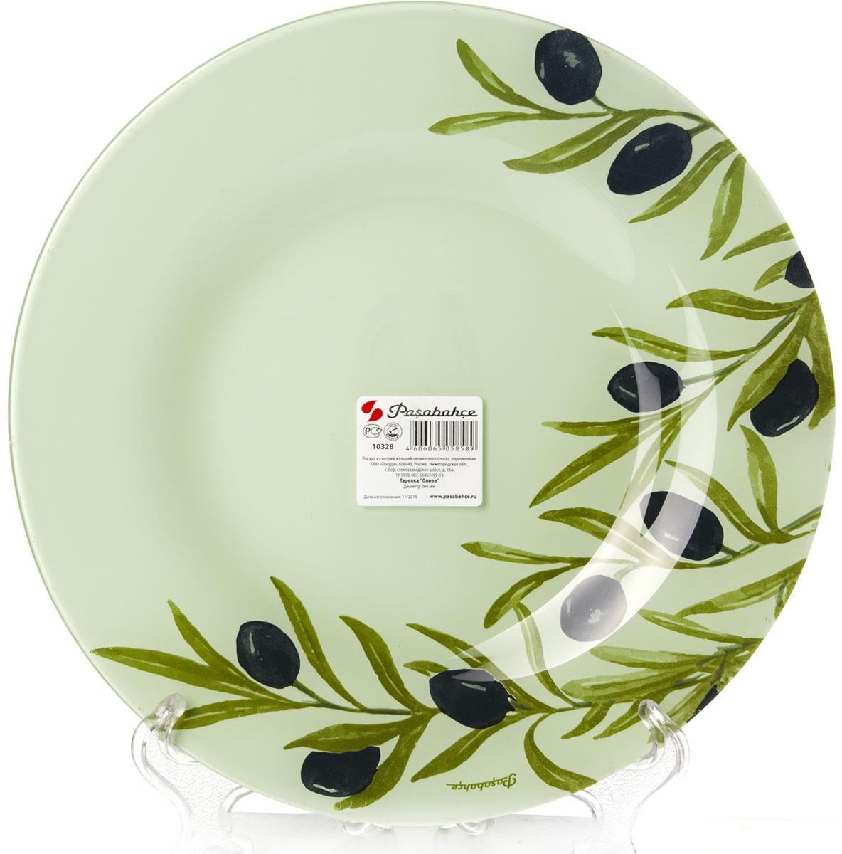 Тарелка Pasabahce Олива, диаметр 26 см10328SLBD35Тарелка Pasabahce Олива выполнена из качественногостекла и украшена рисунком. Тарелка прекрасно подойдет в качестве сервировочного блюда для фруктов, десертов, закусок, торта и другого.Изящная тарелка прекрасно оформит праздничный стол и порадует вас и ваших гостей изысканным дизайном и формой. Диаметр тарелки: 26 см.