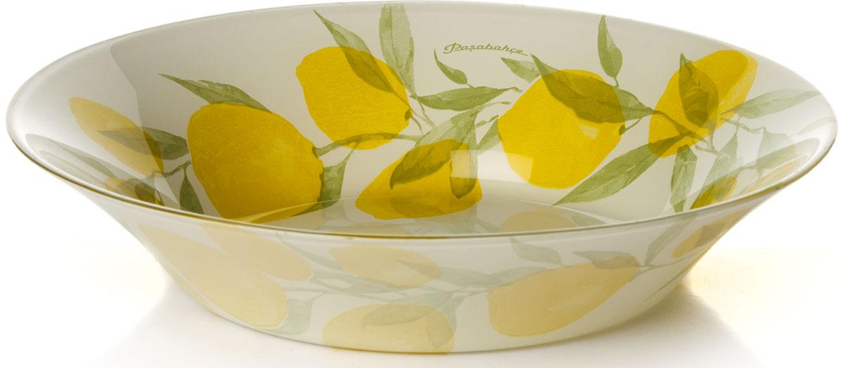 """Глубокая тарелка Pasabahce """"Лимон"""" выполнена из качественного стекла и украшена рисунком.  Изящная тарелка прекрасно оформит праздничный стол и порадует вас и ваших гостей изысканным дизайном и формой.   Диаметр тарелки: 22 см. Высота: 4,5 см."""