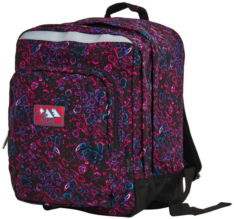 Polar Рюкзак цвет черный розовый фиолетовыйП3821-10Рюкзак Polar с отделением для ноутбука с экраном до 15.4. Рюкзак имеет полностью вентилируемую, удобную и мягкую спинку, мягкие плечевые лямки создают дополнительный комфорт при ношении. Центральный отсек рюкзака подойдет для персональных вещей и документов A4, большие карманы - для аксессуаров и персональных вещей. Светоотражающие элементы делают ребенка заметнее на дороге в темное время суток, повышая его безопасность.