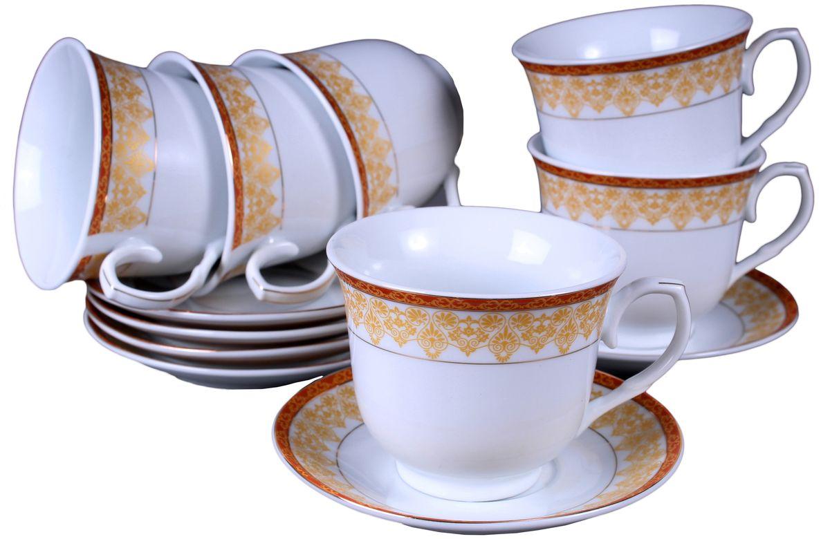 Набор чайный Olaff, 12 предметов. JDFG-12QWB-013JDFG-12QWB-013Набор чайный, 12 предметов: 6 чашек 220 мл + 6 блюдец, декор золото, прямоугольная подарочная упаковка с окошком