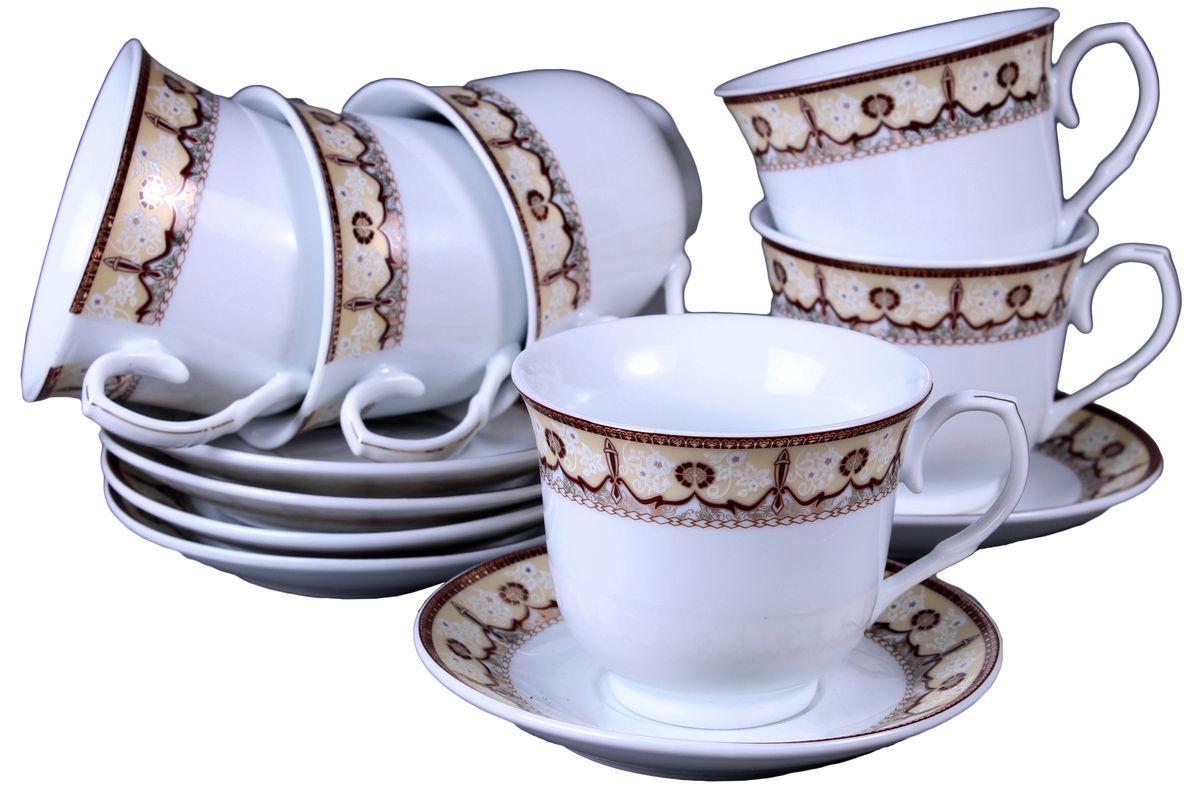 Набор чайный Olaff, 12 предметов. JDFG-12QWB-014JDFG-12QWB-014Набор чайный, 12 предметов: 6 чашек 220 мл + 6 блюдец, декор золото, прямоугольная подарочная упаковка с окошком