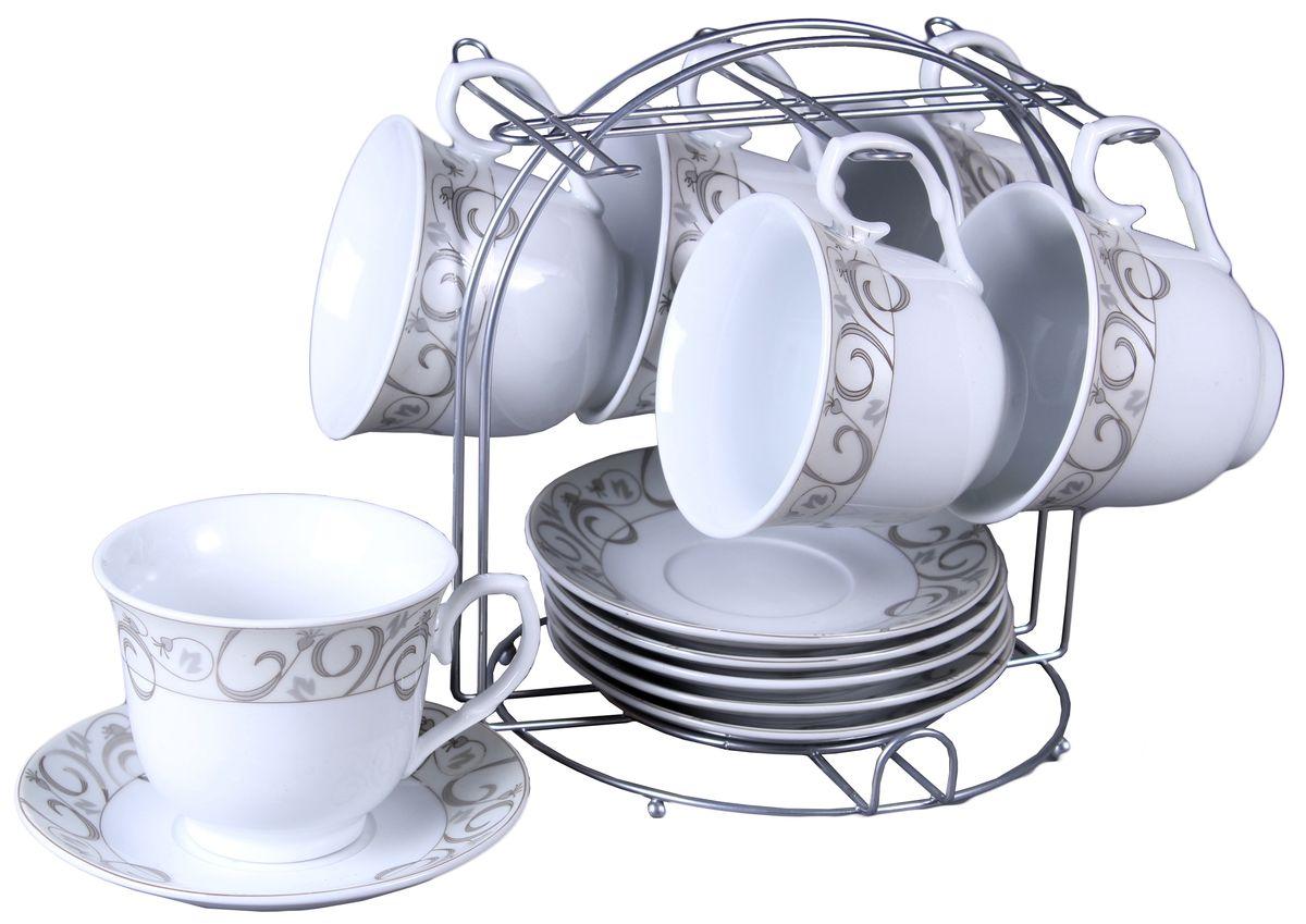 Набор чайный Olaff, на подставке, 12 предметов. JDFS-12MS-003JDFS-12MS-003Набор чайный, 12 предметов: 6 чашек 220 мл + 6 блюдец, декор серебро