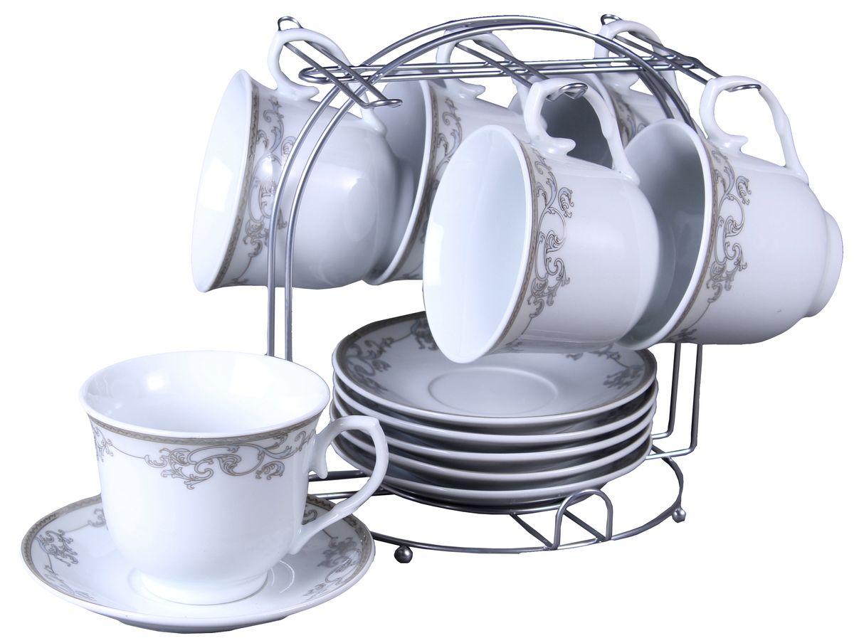 Набор чайный Olaff, на подставке, 12 предметов. JDFS-12MS-004JDFS-12MS-004Набор чайный, 12 предметов: 6 чашек 220 мл + 6 блюдец, декор серебро