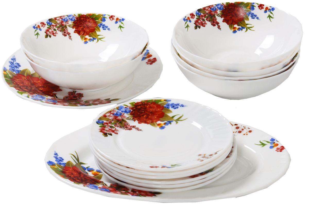 Набор столовой посуды Olaff Наранга, 14 предметов. JY-R-14-52JY-R-14-52Набор столовый 14 предметов: тарелка плоская 175 мм - 6 шт, тарелка плоская 254 мм - 1 шт, салатник 750 мл - 6 шт, блюдо овальное 305 мм, цветная упаковка