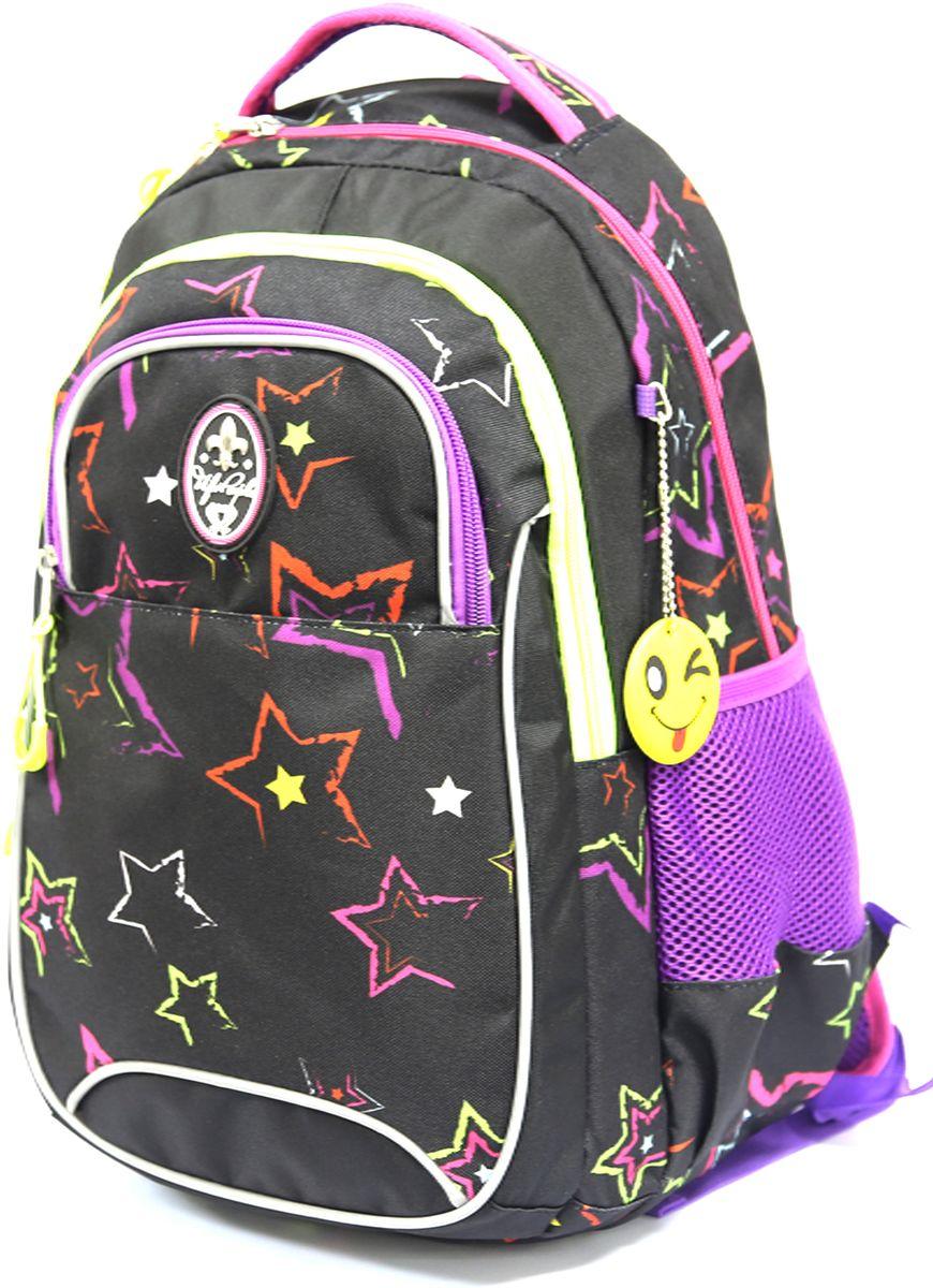UFO People Рюкзак цвет черный фиолетовый 76367636Легкий и прочный рюкзак UFO People выполнен из нейлоновой ткани на основе PU. Рюкзак имеет жесткую ортопедическую спинку с мягкими анатомическими вставками.Изделие содержит два основных вместительных отделения, передний кармашек для мелких предметов, вместительные боковые карманы и внутренний подвесной карман для ценных вещей.Плотное дно позволяет изделию устойчиво стоять на ровной поверхности. Рюкзак оснащен светоотражающими элементами.
