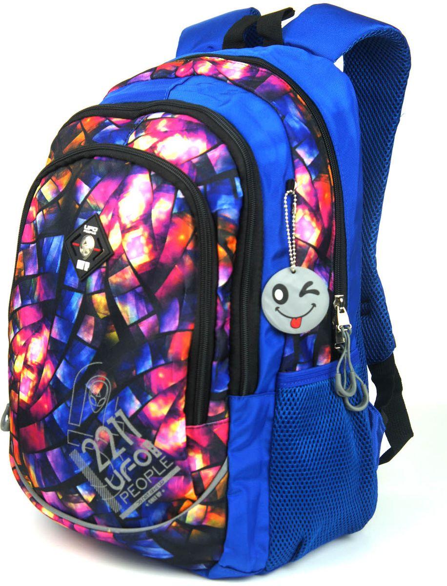 UFO People Рюкзак цвет синий 77167716Легкий и прочный рюкзак UFO People выполнен из нейлоновой ткани на основе PU.Изделие содержит три основных вместительных отделения, и два боковые карманы. Рюкзак оснащен текстильной ручкой для переноски в руках.