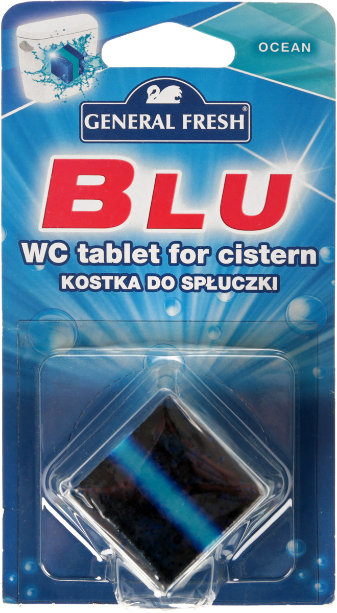Очиститель-освежитель General Fresh WC. Blu, для смывного бачка, квадрат, 1 х 50 г. 545010545010Без особых хлопот обеспечит гигиеническую чистоту, и свежесть вашего туалета в течение длительного времени. При каждом сливе воды предотвращает образование отложений и очищает труднодоступные места. Ароматический освежитель не содержит фосфоритов и парадихлорбензола.Тройного действия. 1. Очищает поверхность унитаза, предотвращая образование известкового налета. 2. Уничтожает бактерии даже в труднодоступных местах. 3. Создает обильную пену и стойкий свежий аромат при каждом сливе воды.Уважаемые клиенты! Обращаем ваше внимание на то, что упаковка может иметь несколько видов дизайна. Поставка осуществляется в зависимости от наличия на складе.Товар сертифицирован.