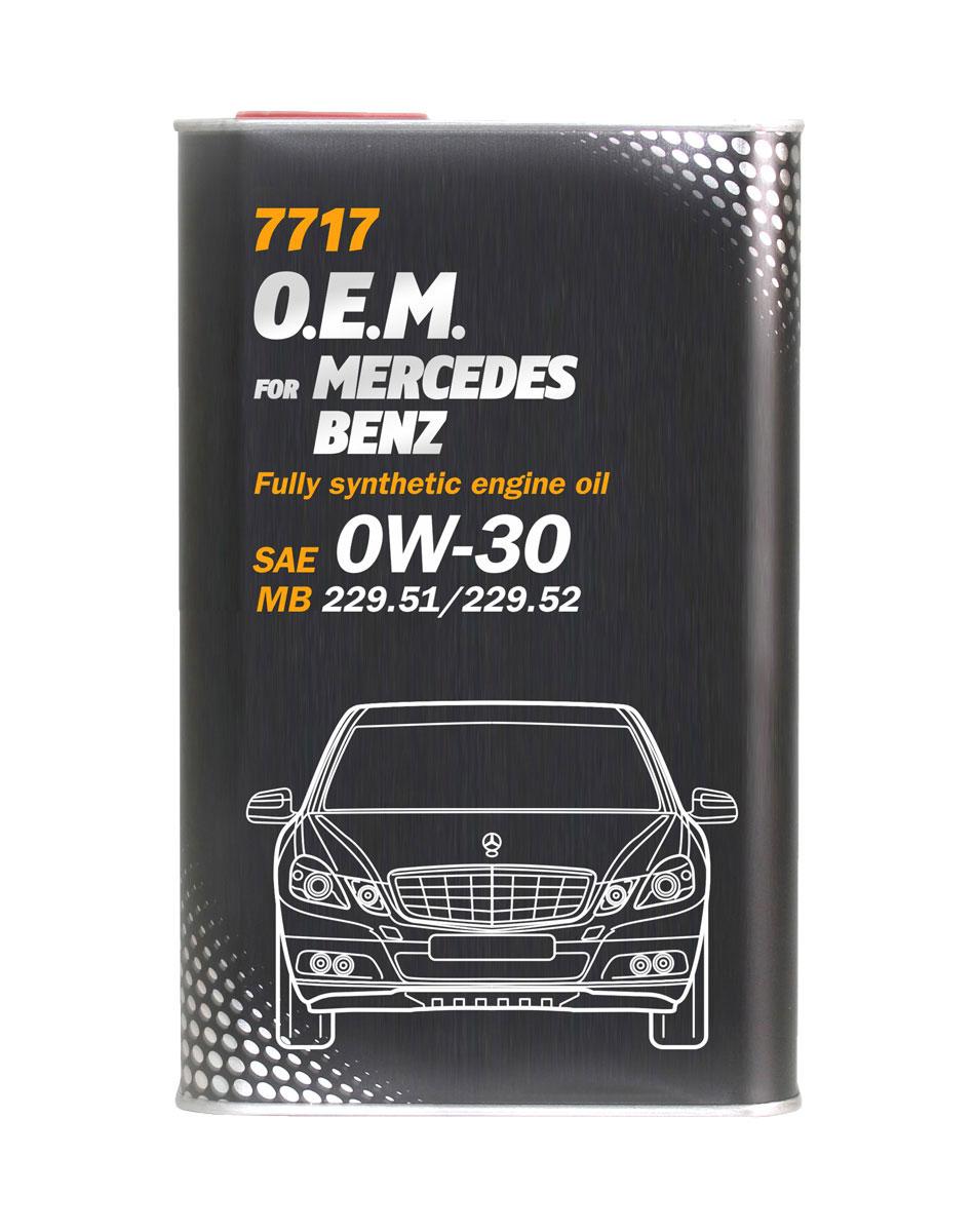 Моторное масло MANNOL 7717 O.E.M., для Mercedes-Benz, 0W-30, синтетическое, 1 л4059Моторное масло MANNOL 7717 O.E.M. - это синтетическое моторное масло нового поколения, специально разработанное для использования в бензиновых и дизельных двигателях автомобилей MERCEDES-BENZ. Высокотехнологичный пакет присадок (low SAPS - низкое содержание серы, золы и фосфора обеспечивает оптимальную работу систем защиты окружающей среды, а также фильтров твердых частиц (DPF).Продукт имеет допуски / соответствует спецификациям / продуктам:SAE 0W-30 API SN/CF ACEA C2/C3 MB Approval 229.51 / MB 229.51 MB Approval 229.31 / MB 229.31 MB Approval 229.52 / MB 229.52 BMW Longlife-04 / BMW LL-04 VW/AUDI 504.00 VW/AUDI 507.00 GM Dexos 2 Porsche C30 Ford WSS-M2C950-A