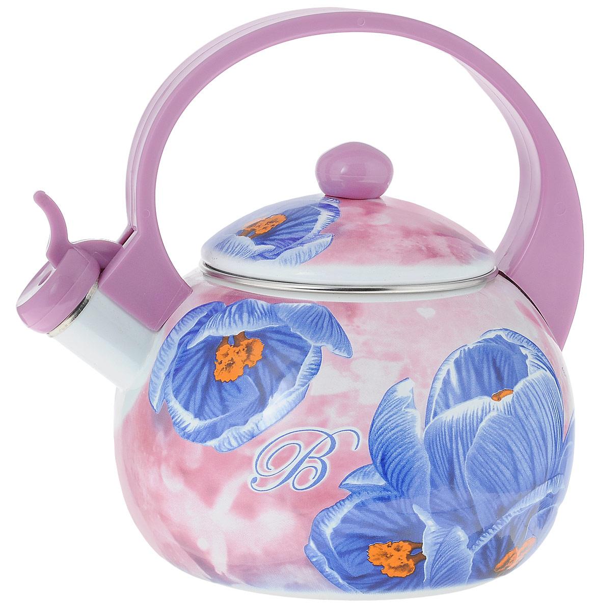 Чайник эмалированный  Bohmann , со свистком, цвет: сиреневый, синий, 2,5 л - Посуда для приготовления