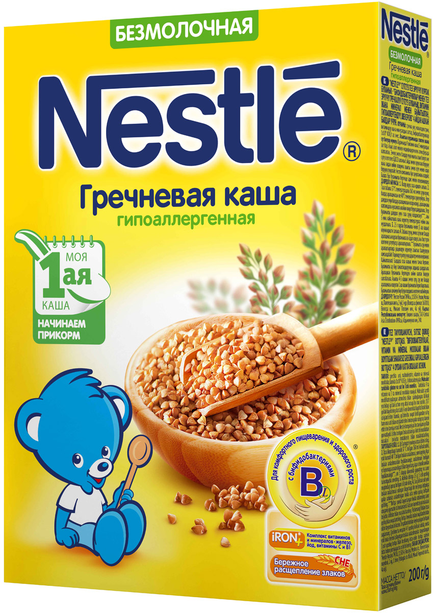 Nestle каша безмолочная гречневая гипоаллергенная, 200 г каша безмолочная heinz злаки и овощи рисово пшеничная с кабачком с 5 мес 200 г