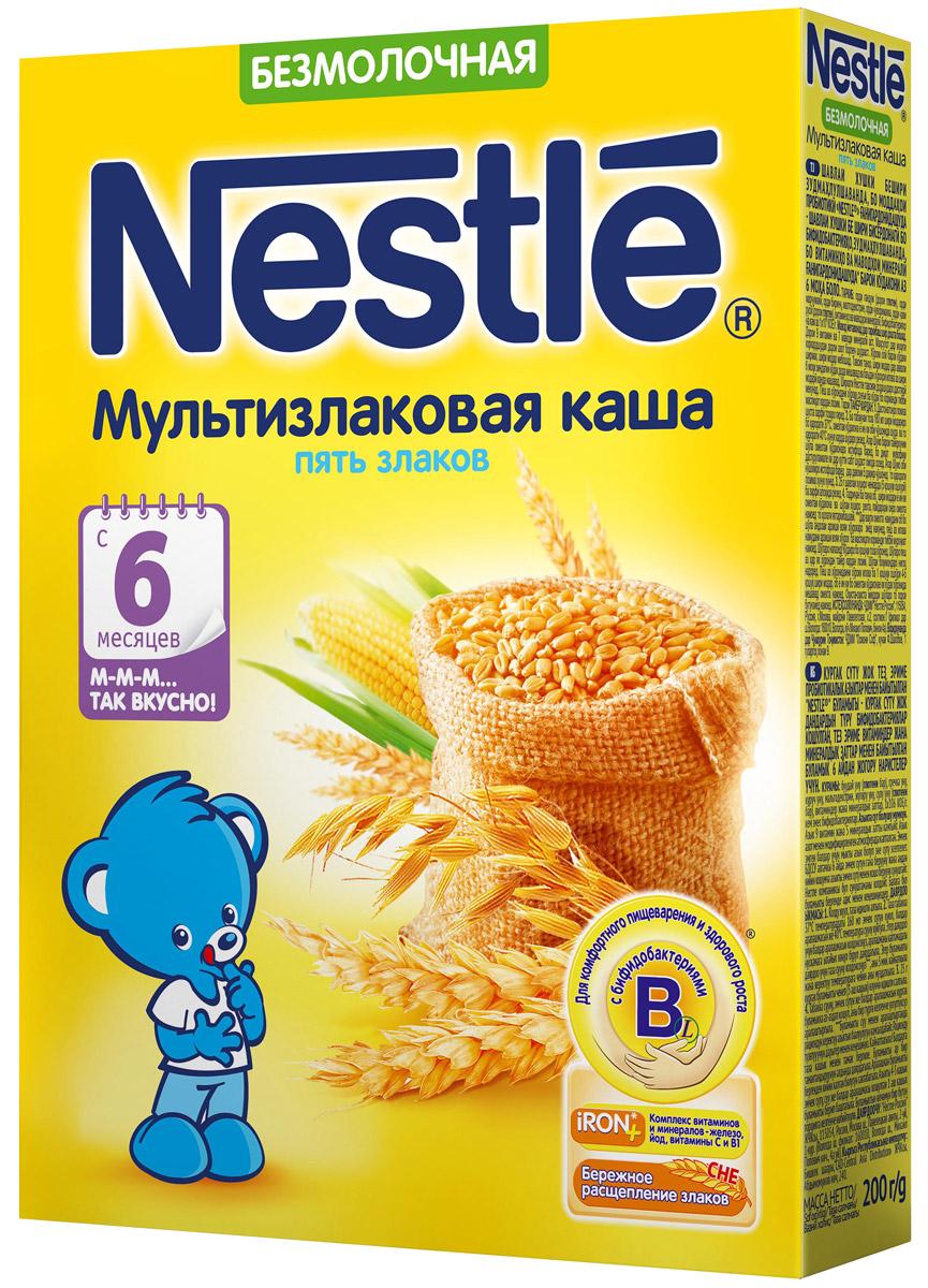 Nestle каша безмолочная мультизлаковая 5 злаков, с 6 месяцев, 200 г каша молочная nestle мультизлаковая с яблоком черникой и малиной с 6 мес 250 г