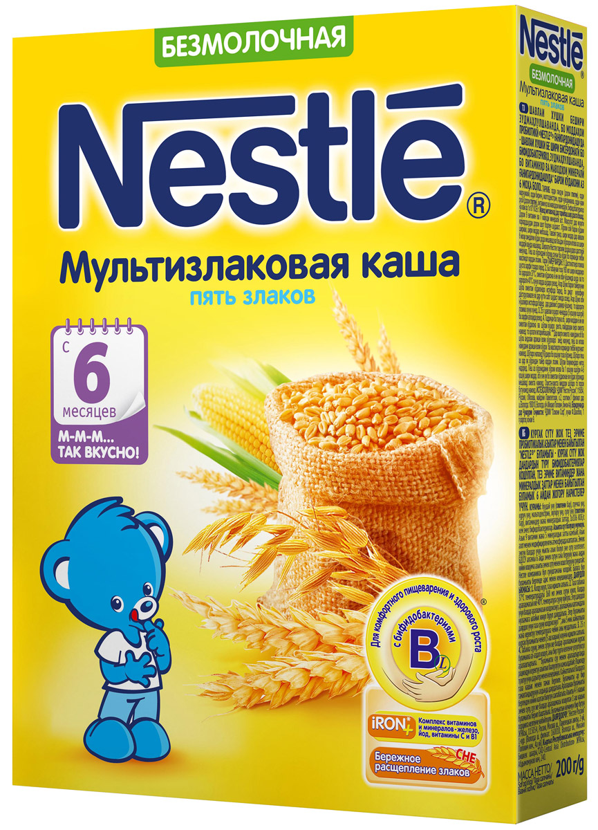 Nestle каша безмолочная мультизлаковая 5 злаков, с 6 месяцев, 200 г каша безмолочная heinz многозерновая из 5 злаков с 6 мес 30 гр