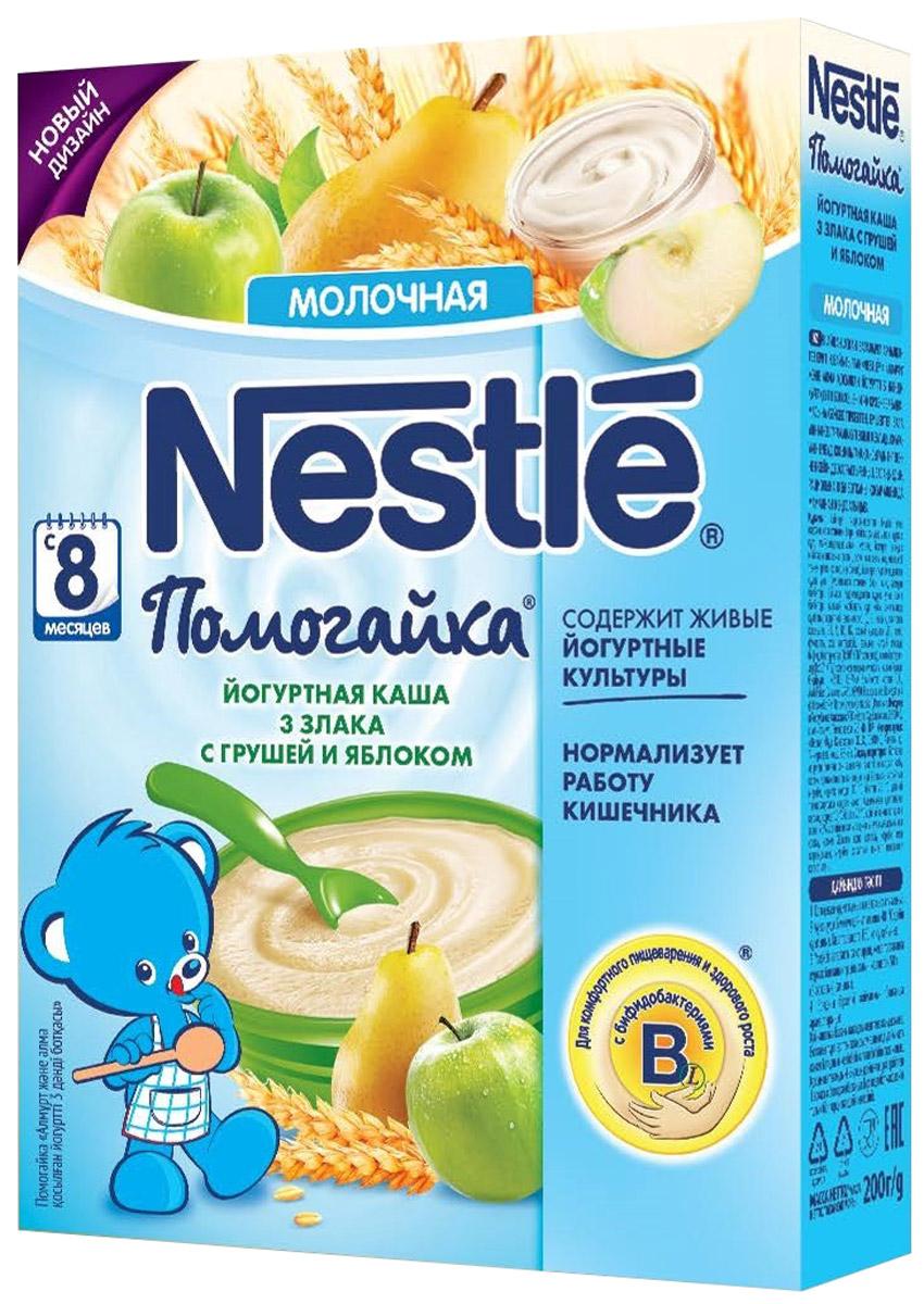 Nestle Помогайка каша йогуртная молочная 3 злака с грушей и яблоком, с 8 месяцев, 200 г12267063Молочная йогуртовая каша Помогайка 3 злака с грушей и яблоком является полезным сбалансированным прикормом для здоровых детей с 8 ми месяцев и приготовлена с использованием особой технологии бережного расщепления злаков. Три злака (пшеница, овес и рис), дополняют друг друга, обеспечивая ребенка питательными веществами. Каша обогащена витаминами и микроэлементами, содержит живые йогуртные культуры. Каша Помогайка 3 злака с грушей и яблоком содержит пробиотики (живые бифидобактерии комплекса BL), которые способствуют нормализации пищеварения, росту здоровой микрофлоры и укреплению иммунитета, что очень важно в период введения прикорма. Добавление фруктовых кусочков (груша и яблоко) способствует развитию как вкусовых восприятий малыша, и так жевательных навыков в период постепенного перехода к взрослому меню. Идеальной пищей для грудного ребенка является молоко матери. Продолжайте грудное вскармливание как можно дольше после введения прикорма. Необходима консультация специалиста.