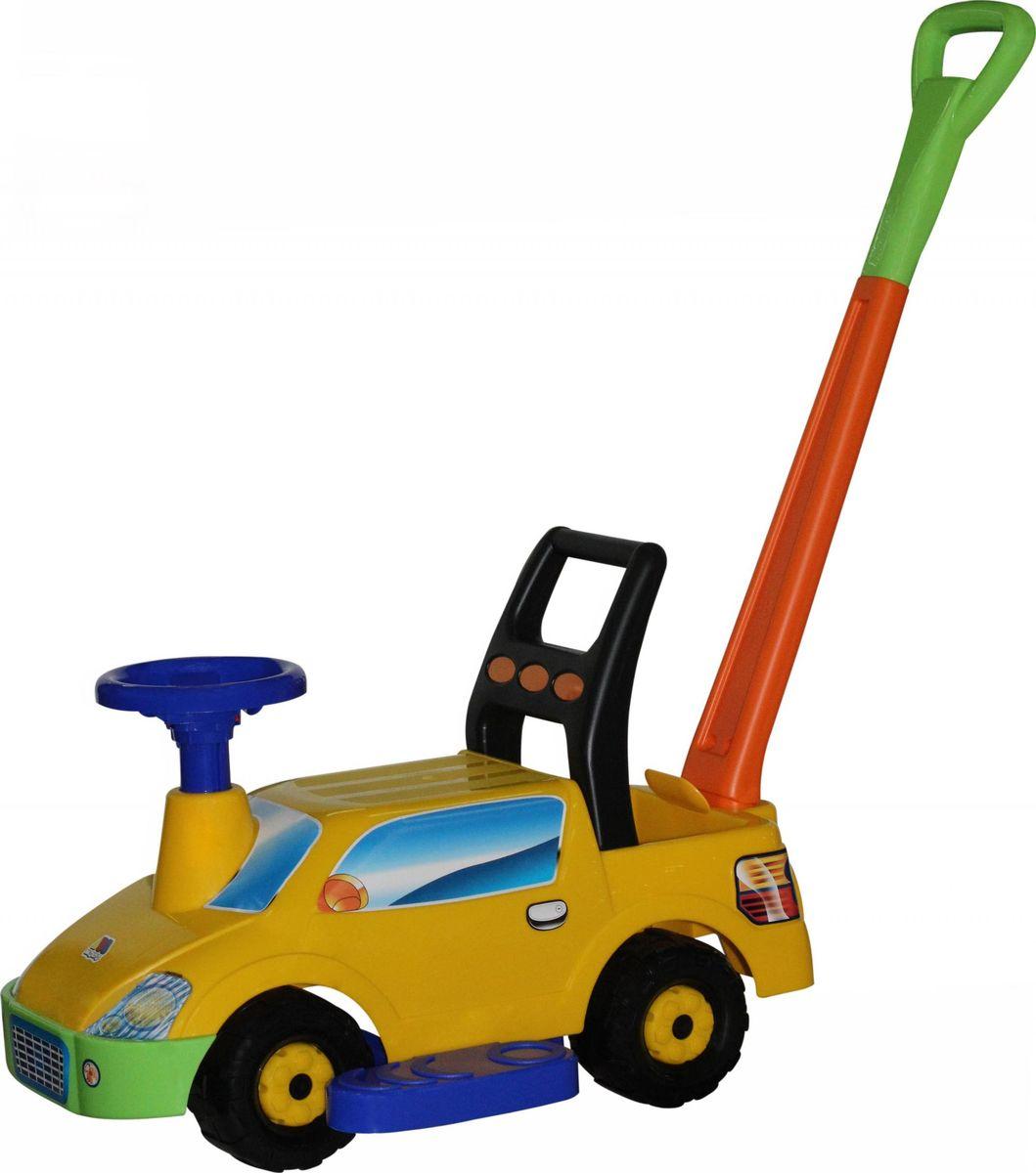 Полесье Каталка Пикап с ручкой цвет желтый полесье гоночный автомобиль торнадо цвет желтый