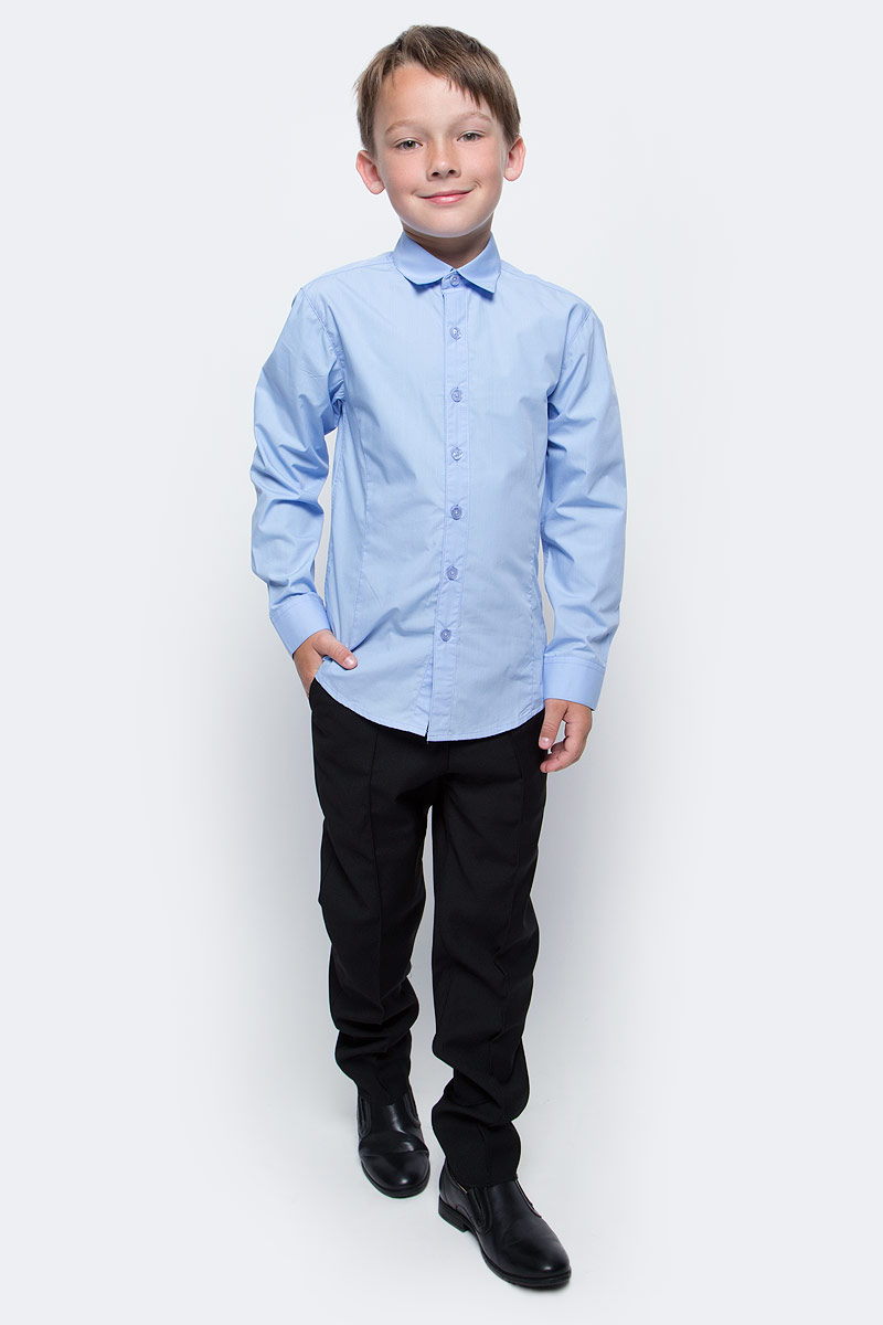 Рубашка для мальчика Vitacci, цвет: голубой. 1173020М-10. Размер 1581173020-10/1173020М-10Рубашка для мальчика выполнена из хлопка и полиэстера. Модель с длинными рукавами застегивается на пуговицы.
