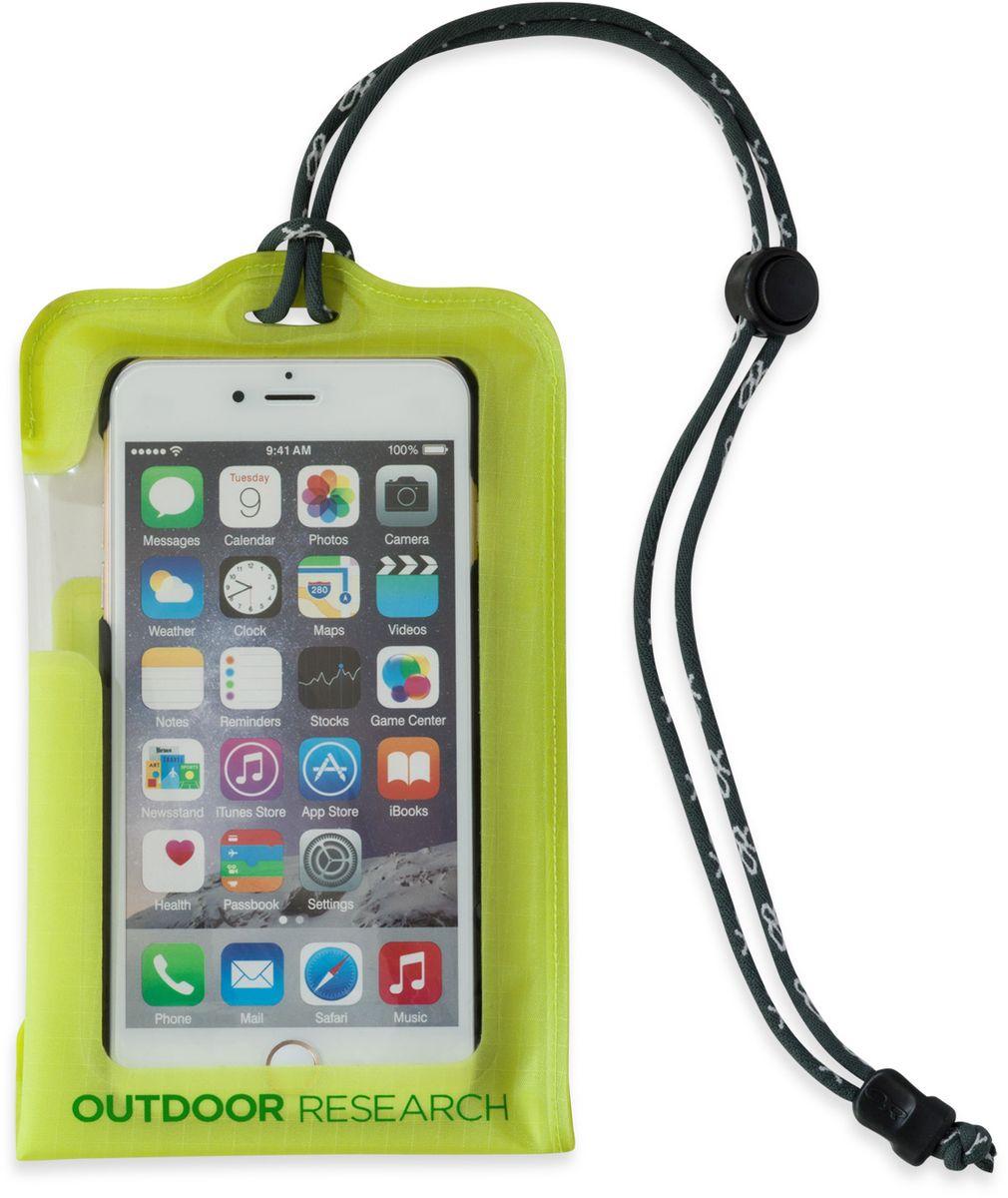 Гермочехол для электроники Outdoor Research Dry Pocket Large, цвет: зеленый2440250489Гермочехол для электроники Outdoor Research прекрасно защитит ваше устройство от намокания и грязи. Чехол выполнен из водонепроницаемого, легкого и прочного материала. Сенсорный экран позволяет пользоваться телефоном в любых экстремальных условиях. Сзади имеется прозрачное окошко для внешней камеры. Чехол снабжен шнурком. Подходит для iPhone 6, Samsung Note 3&4. Не совместим с кнопкой Home в iPhone 7, на прокрутку экрана это не влияет.