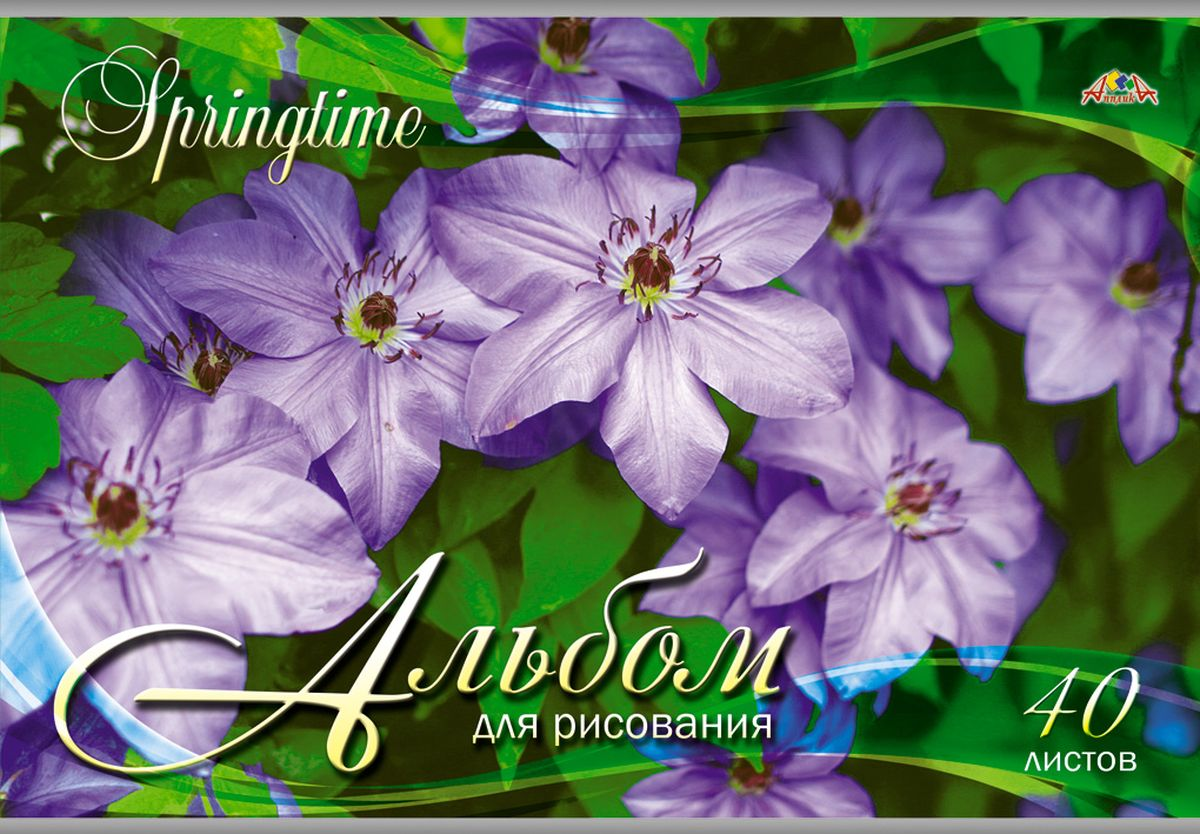 Апплика Альбом для рисования Фиолетовые цветы 40 листов nike sb рюкзак nike sb courthouse черный черный белый