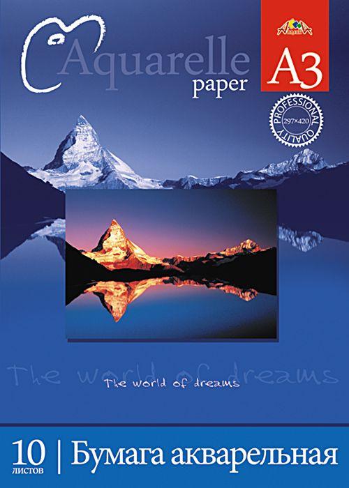 Апплика Папка для акварели Горы 10 листов формат А3С0112-04Папка для акварели, формат А3, обложка-папка - мелованный картон, блок - бумага для акварели с содержанием хлопка 180 г/м2, 10 листов