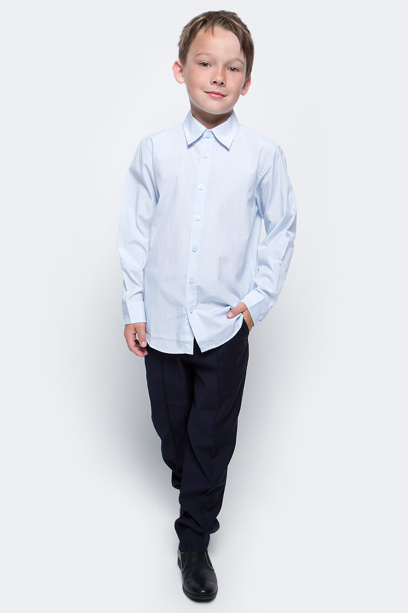 Рубашка для мальчика Sela, цвет: снежно-голубой. H-812/209-7310. Размер 128, 8 летH-812/209-7310Рубашка для мальчика Sela выполнена из высококачественного материала. Модель с отложным воротником и длинными рукавами застегивается на пуговицы. Манжеты застегиваются на пуговицы.