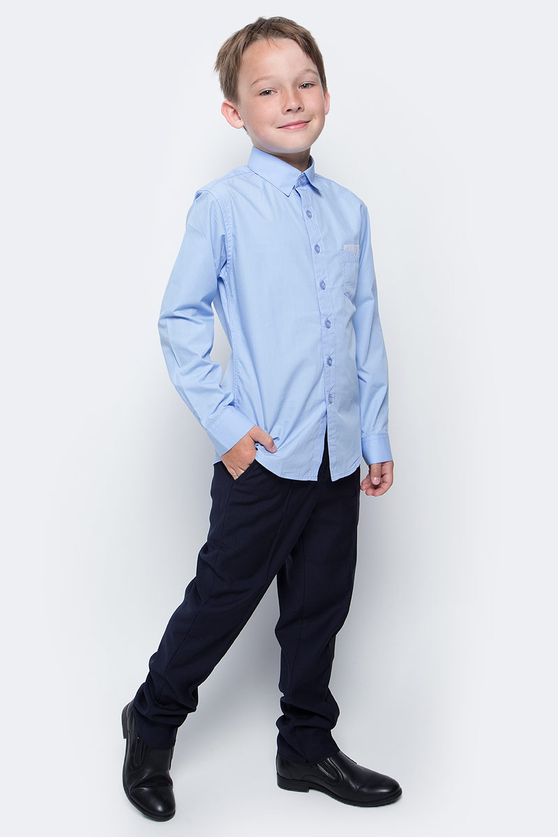 Рубашка для мальчика Vitacci, цвет: голубой. 1173016-10. Размер 1401173016-10/1173016М-10Рубашка для мальчика выполнена из хлопка и спандекса. Модель с отложным воротником и длинными рукавами.