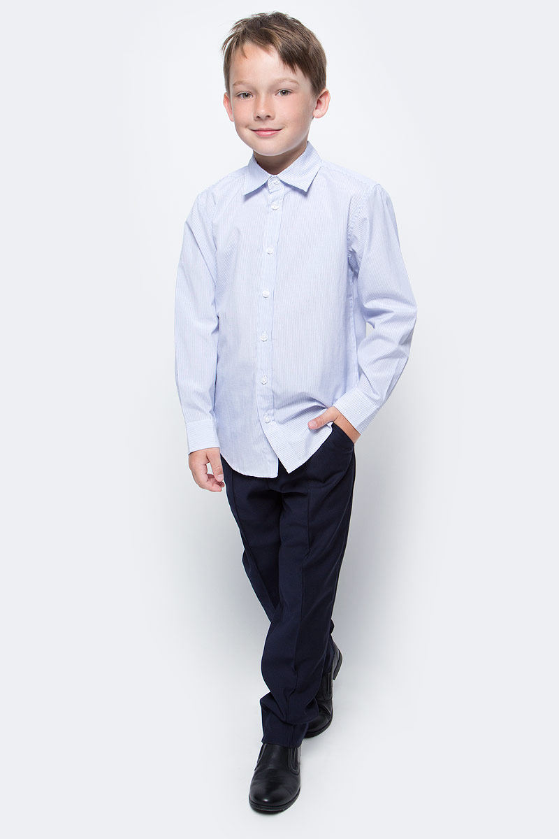 Брюки для мальчика Vitacci, цвет: темно-синий. 1173033-04. Размер 1461173033-04Классические школьные брюки выполнены из качественного материала. Модель застегивается на комбинированную застежку, имеются шлевки для ремня.