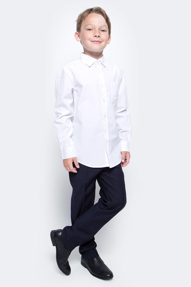 Рубашка для мальчика Sela, цвет: белый. H-812/208-7310. Размер 146, 11 летH-812/208-7310Рубашка для мальчика Sela выполнена из высококачественного материала. Модель с отложным воротником и длинными рукавами застегивается на пуговицы. Манжеты застегиваются на пуговицы. На груди рубашка дополнена накладным карманом на пуговице.