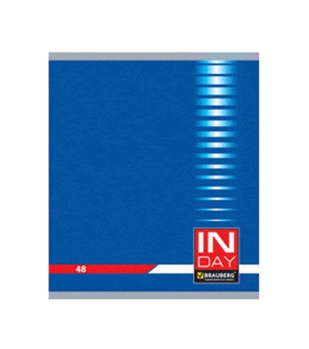Brauberg Тетрадь In Day 96 листов в клетку цвет синий 400522400522Тетрадь Brauberg In Day подходит для учебы и работы.Обложка, выполненная из плотного картона, позволит сохранить тетрадь в аккуратном состоянии на протяжении всего времени использования.Внутренний блок тетради, соединенный металлическими скрепками, состоит из 96 листов белой бумаги. Стандартная линовка в клетку голубого цвета с полями.