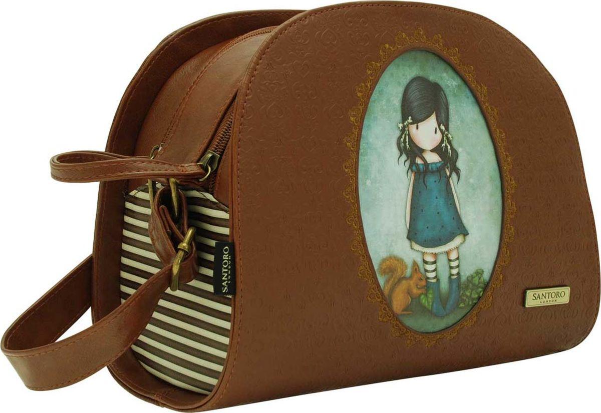 Santoro Сумка школьная You Brought Me Love 00124550012455Форма сумочки Santoro совершенна, а главное - в тренде уже не первый сезон. Качественная эко-кожа, фиксирующийся ремешок, ненавязчивый паттерн и стильный дизайн с девочкой Gorjuss - эта сумка безусловный хит! Сумка выполнена вручную.