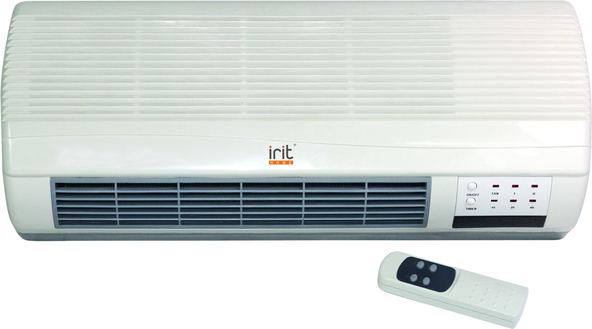Irit IR-6025 тепловентилятор настенныйIR-6025Тепловентилятор настенный электрический, 1000/2000Вт, керамический нагревательный элемент, 3 режима нагрева, термостат, режим подачи холодного воздуха, автоключение при понижении температуры, световой индикатор работы, таймер на 7,5 часов, автоотключение при перегреве, пульт ДУ. Габаритные размеры: 450 х 110 х 185 мм
