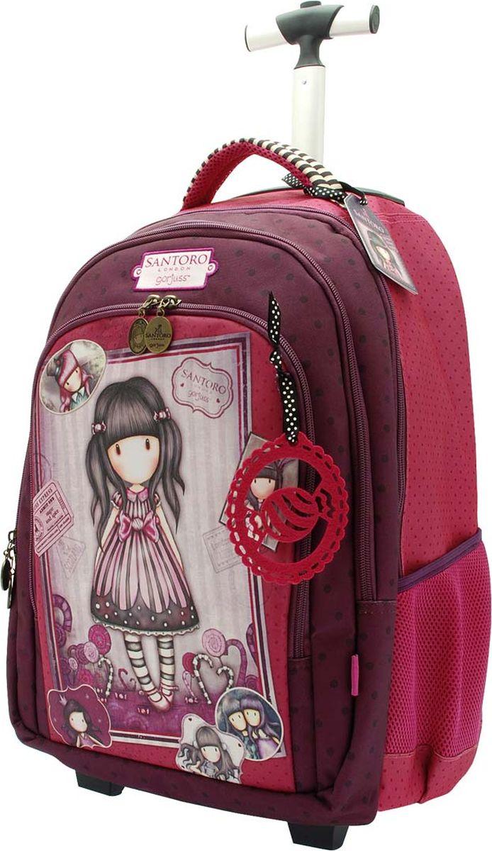 Santoro Рюкзак Sugar and Spice 00133450013345Маленькие принцессы не должны носить на себе тяжелые учебники в школу!Для этого в рюкзаке Santoro имеются ручка и колесики, благодаря чему его можно легко катить в случае необходимости, он отлично подходит как для школы, так и для путешествий!Колесики рюкзака можно спрятать, благодаря чему они не будут пачкать спину.По бокам рюкзак содержит два кармана-сеточки и три вместительных отделения на молниях. Внутри отделений находятся дополнительные отсеки для канцелярии, телефона и аксессуаров.Рюкзак выполнен вручную.