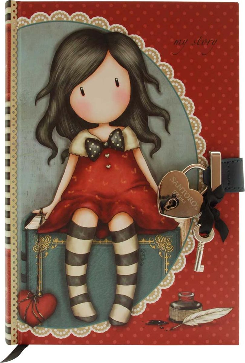 Santoro Блокнот My Story 00137110013711Тише ... это секрет! Храните свои секреты в закрывающемся блокноте!Используйте замочек и ключ, чтобы открыть блокнот, а также ленточную закладку, чтобы никогда не потерять место!Канцелярские принадлежности Gorjuss идеально подходят для создания красивых мыслей, мечтаний и чувств!
