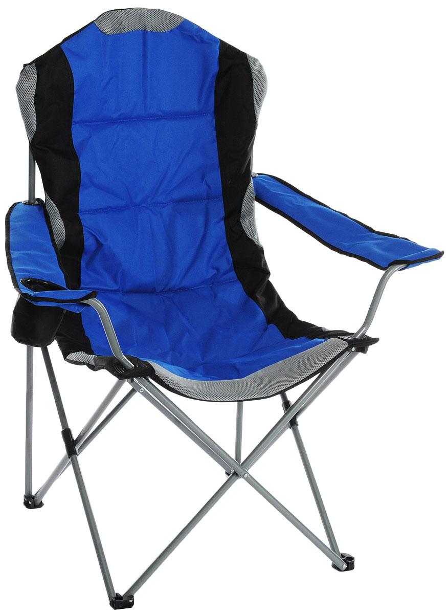 Кресло складное Green Glade, цвет: синий, 60 см х 66 см х 50/95 смЛК-8106Складное кресло Green Glade прекрасно подойдет для отдыха на природе или на даче. Кресло удобно и компактно складывается, легко раскладывается. Каркас выполнен из стали, а сиденье и подлокотники - из полиэстера с ПВХ набивкой из пеноматериала. Имеются участки из Mesh-сетки, которая поможет обеспечить хорошую воздухопроницаемость. Один из подлокотников оснащен подстаканником.Кресло выдерживает нагрузку до 120 кг.Для хранения предусмотрен чехол с ручкой для переноски на плече.Размер кресла (в собранном виде): 110 см х 20 см х 20 см.Размер кресла (в разобранном виде): 60 см х 66 см х 50/95 см.Диаметр стальных стрежней: 16 мм.