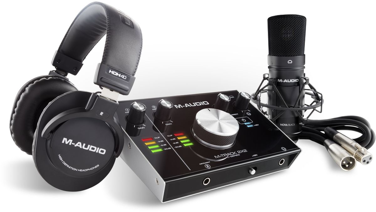 M-Audio M-Track 2X2 Vocal Studio Pro, Black аудиоинтерфейсMCI55151Комплект включающий в себя USB аудио интерфейс M-Track 2X2, наушники HDH40, конденсаторный микрофон Nova Black, XLR кабель, ПО AIR Creative FX collection, AIR Strike, AIR Xpand!2, AIR Mini Grand, Steinberg Cubase LE, Win/MacOSX