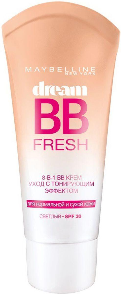 Maybelline New York BB Крем Dream Fresh, Мгновенное сияние, выравнивающий, с тонирующим эффектом, светлый, 30 млB1983202BB крем Мгновенное Сияние. Крем-уход с тонирующим эффектом. Его легкая гелевая формула на водной основе сочетает лучшие свойства увлажняющего крема и тонального средства, маскирует недостатки, делает кожу свежей и сияющей. Эффект ВВ-крема Мгновенное Сияние для сухой и нормальной кожи избавляет от 8 проблем одним движением: 1. Скрывает несовершенства 2. Наполняет сиянием 3. Придает гладкость 4. Сливается с тоном кожи 5. Увлажняет в течение дня 6. Придает ощущение свежести 7. Защищает от УФ (SPF 30) 8. Без жирного блеска