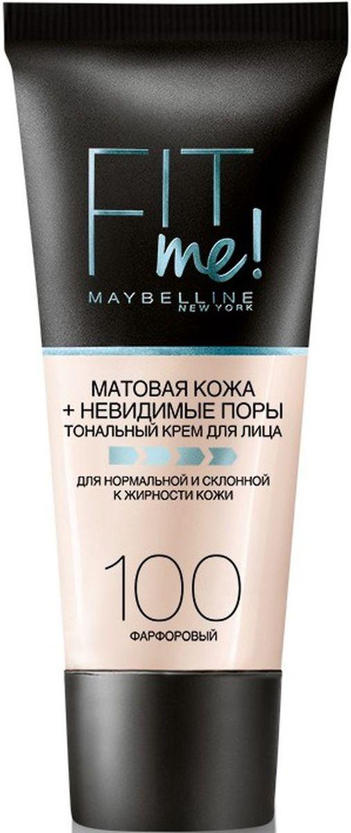 Maybelline New York Тональный крем для лица Fit Me, матирующий, скрывающий поры, Оттенок 100, Фарфоровый, 30 мл fit me maybelline тональный