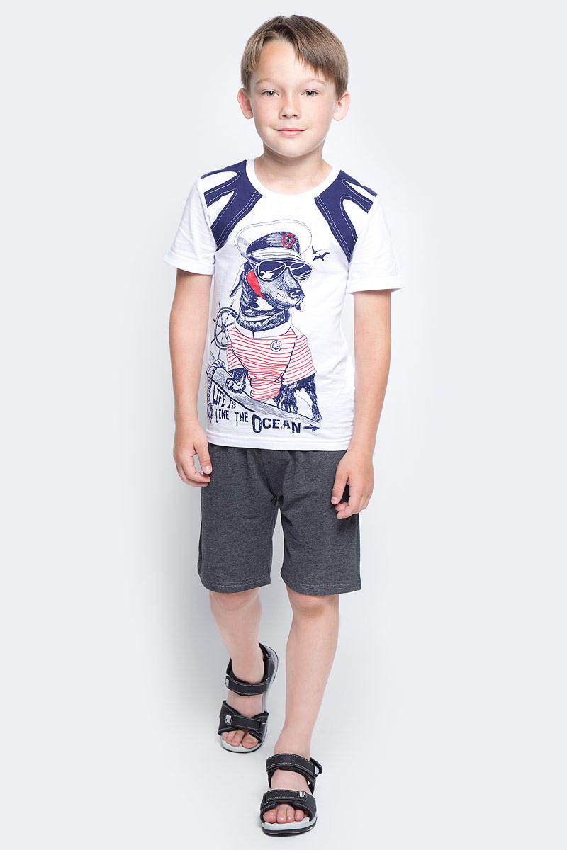 Шорты для мальчика Luminoso, цвет: темно-серый меланж. 727087. Размер 146727087Шорты для мальчика Luminoso выполнены из хлопка с добавлением эластана. Модель имеет стандартную посадку и широкую эластичную резинку на талии со шнурком для регулировки посадки. Такие шорты отлично подойдут для занятий спортом и игр на открытом воздухе.