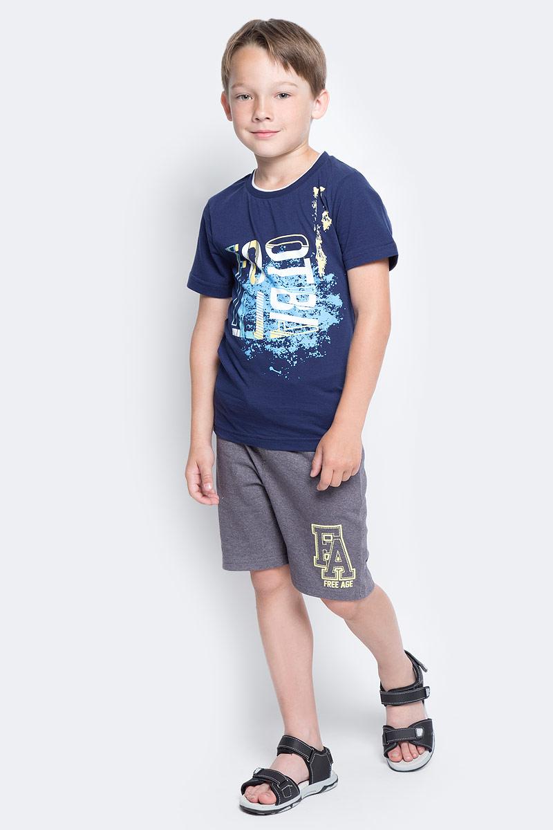 Футболка для мальчика LeadGen, цвет: темно-синий. B113020108-171. Размер 146B113020108-171Футболка для мальчика LeadGen выполнена из натурального хлопкового трикотажа. Модель с короткими рукавами и круглым вырезом горловины спереди оформлена принтом.