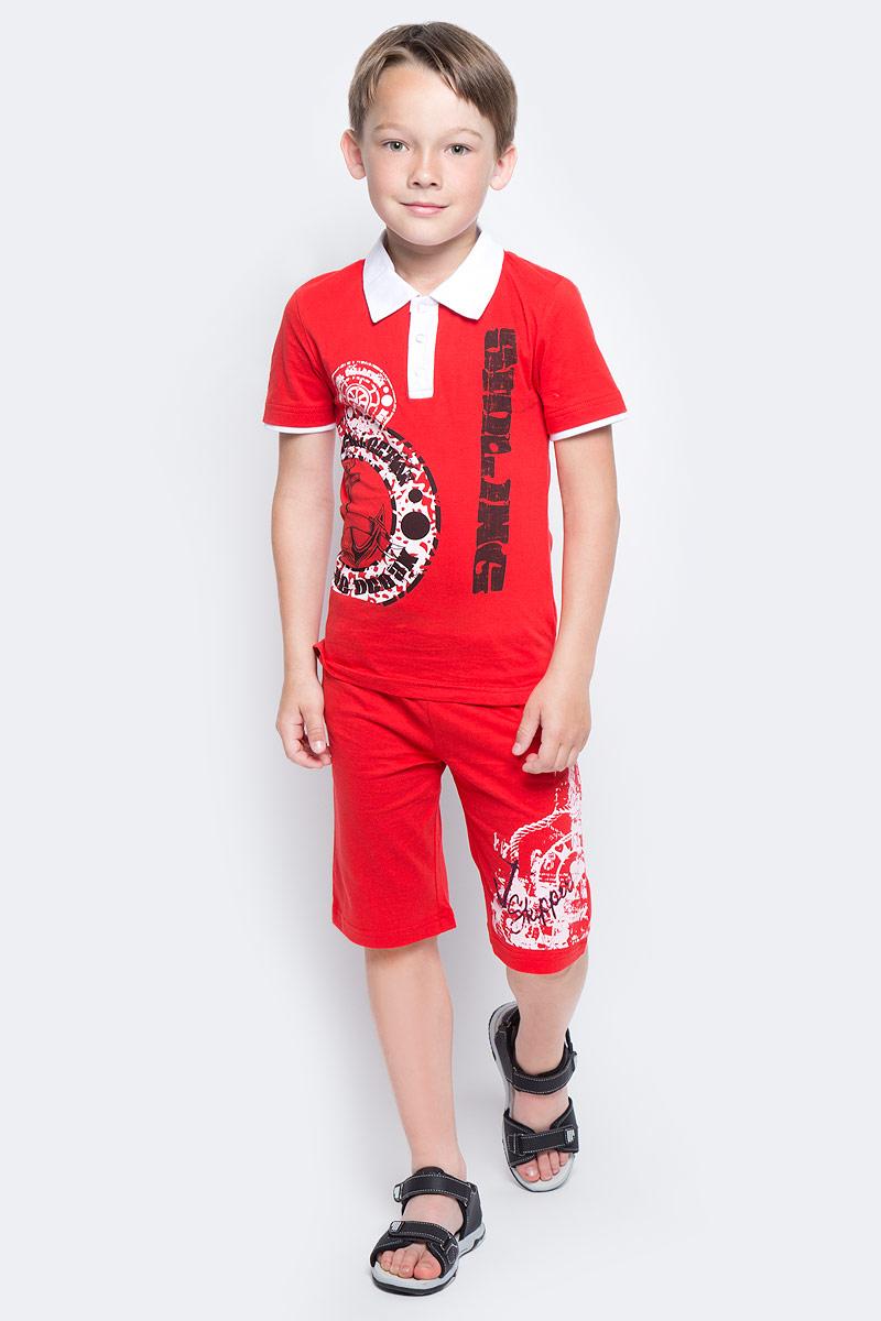 Поло для мальчика LeadGen, цвет: красный. B223016107-171. Размер 128B223016107-171Футболка-поло для мальчика LeadGen выполнена из натурального хлопкового трикотажа. Модель с короткими рукавами и отложным воротником на груди застегивается на кнопки.