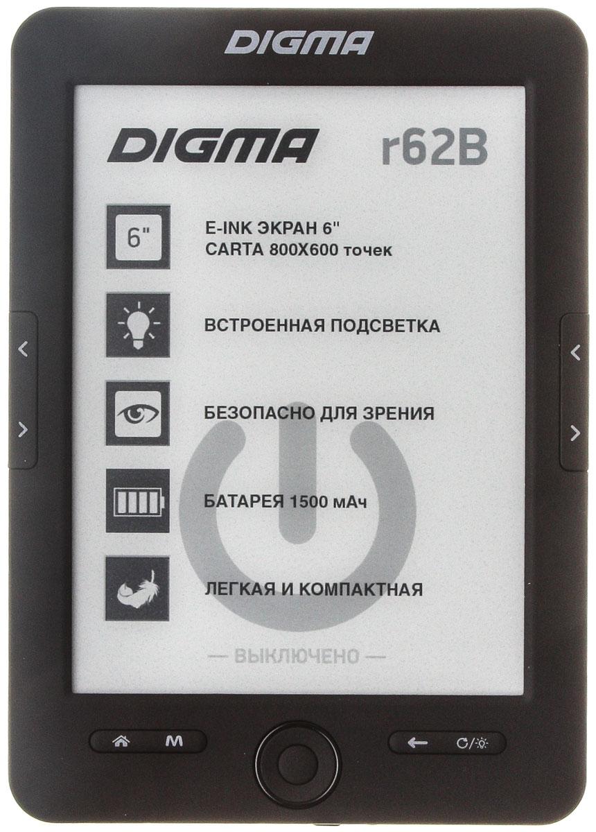 Digma R62B, Black электронная книгаR62BT1Электронная книга Digma R62B станет отличным попутчиком и поможет интересно провести время в дороге. С таким компактным и легким устройством вы сможете читать в любом месте, когда захотите.Представленная модель обладает шестидюймовым экраном с разрешением 800х600, которое является достаточно высоким, чтобы обеспечить вам высокую четкость изображения.Digma R62B без труда воспроизводит 13 текстовых форматов, а также архивы, и графические файлы. Предусмотренные производителем 16 градаций серого цвета помогут настроить устройство таким образом, чтобы оно было максимально комфортным для ваших глаз.
