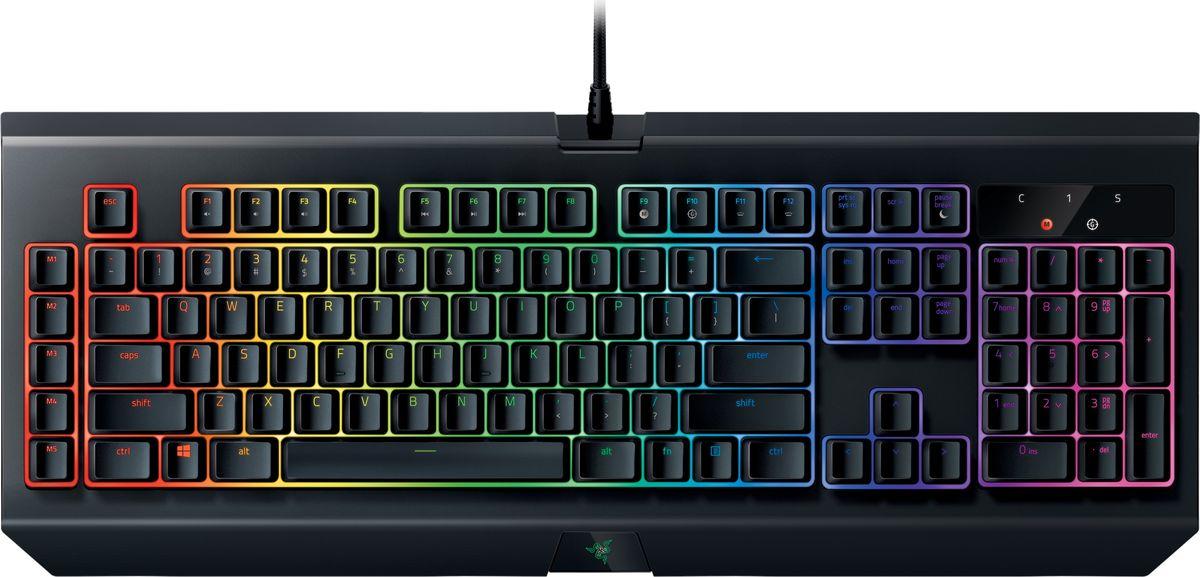 Razer BlackWidow Chroma V2 Green Switch игровая клавиатураRZ03-02030700-R3R1Механическая игровая клавиатура Razer BlackWidow появилась в 2010 году и быстро стала самой популярной и самой продаваемой игровой клавиатурой в мире. Особенно она пришлась по вкусу киберспортсменам. Четыре года спустя был представлен механический переключатель Razer - первый в мире переключатель с нуля разработанный специально для гейминга, благодаря чему Razer BlackWidow получила еще больше преимуществ. С таким нововведением геймеры смогли выйти на новый уровень игры, увеличив скорость и точность. Раздвигая границы совершенства, эта элитная механическая игровая клавиатура оставляет соперников далеко позади.Новая клавиатура Razer BlackWidow Chroma V2 с подсветкой Razer Chroma дает вам неограниченную свободу самовыражения с помощью внушительного спектра цветов. Также она позволяет индивидуально настроить световые эффекты подсветки.Razer Green Switch – тактильный и щёлкающий. Разработанный с оптимизированными точками срабатывания и сброса, этот механический переключатель предоставит вам лучшую производительность в играх. Каждое срабатывание сопровождается характерным щелчком, а дистанция возврата в исходное положение (для повторного выстрела), почти в 2 раза меньше, чем у стандартных механических переключателей. Вы получите скорость, которую раньше не могли даже представить.Клавиатура Razer BlackWidow Chroma V2 имеет индивидуально программируемую подсветку клавиш с 16,8 млн. оттенков и простой настройкой в Razer Synapse. От готовых шаблонов подсветки для разных типов игр до вашей собственной программируемой палитры — Razer предусмотрели все, чтобы вы получили максимум впечатлений от игры.Специально разработанная для Razer BlackWidow Chroma V2 эргономичная подставка для запястья обеспечивает комфорт даже в самых напряженных игровых марафонах.Как выбрать игровую клавиатуру. Статья OZON Гид