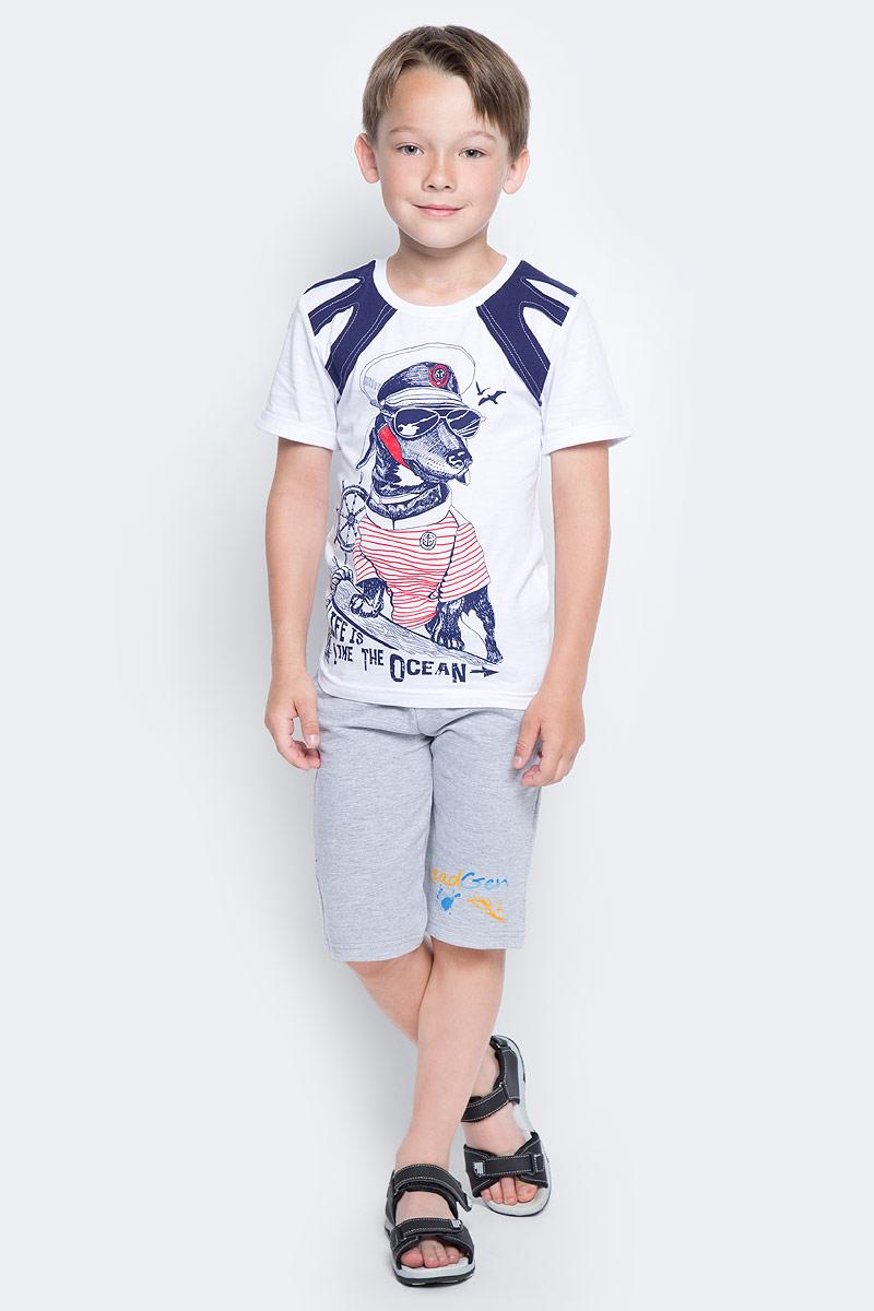 Шорты для мальчика LeadGen, цвет: серый. B612046612-171. Размер 128B612046612-171Шорты для мальчика LeadGen выполнены из хлопкового трикотажа. Модель стандартной посадки с карманами на талии дополнена эластичной резинки со шнурком.