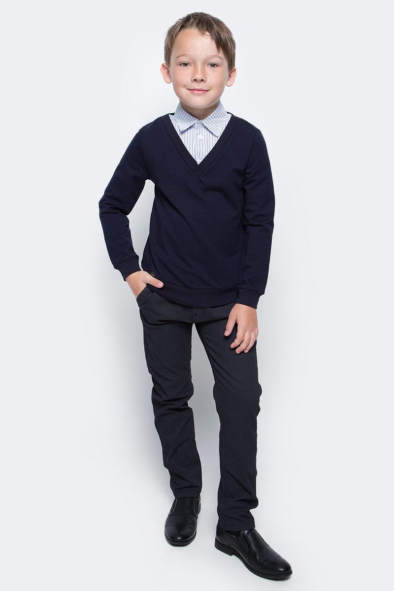 Брюки для мальчика Luminoso, цвет: черный. 727091. Размер 140727091Брюки для мальчика Luminoso выполнены из хлопка с добавлением эластана. Модель имеет классический крой и среднюю посадку. Застегивается на ширинку с молнией и пуговицу в поясе. Пояс дополнен шлевками для ремня. Брюки спереди имеют два прорезных кармана с косым срезом и небольшой прорезной кармашек, сзади - два прорезных кармана на пуговицах.