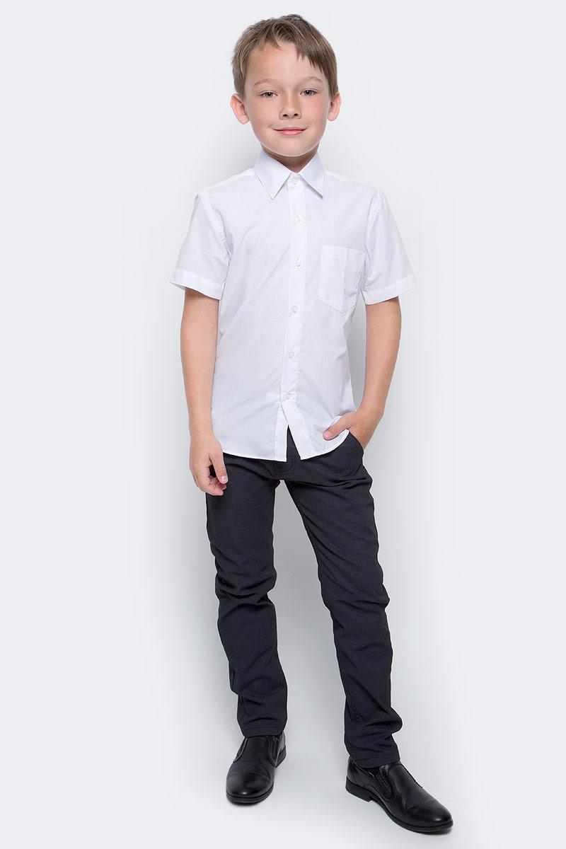 Рубашка для мальчика Nota Bene, цвет: белый. TC2DSPRB01. Размер 158TC2DSPRA01/TC2DSPRB01Рубашка для мальчика Nota Bene приталенного силуэта выполнена из высококачественного хлопкового материала. Модель с классическим отложным воротником и короткими рукавами застегивается на пуговицы, на груди дополнена накладным карманом.