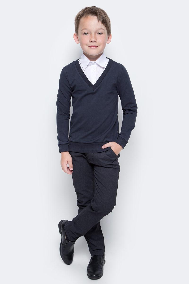 Джемпер для мальчика Nota Bene, цвет: серый. CJK17014B20. Размер 158CJK17014A20/CJK17014B20Джемпер для мальчика Nota Bene выполнен из хлопкового трикотажа. Модель 2-в-1 с длинными рукавами дополнена вставкой, имитирующей рубашку.